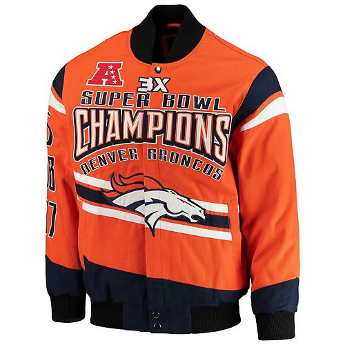 Men's G-III Extreme Orange Denver Broncos Gladiator Commemorative Cotton Twill Jacket