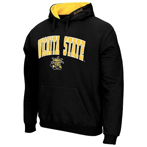 Men's Colosseum Black Wichita State Shockers Arch & Logo Tackle Twill Pullover Hoodie
