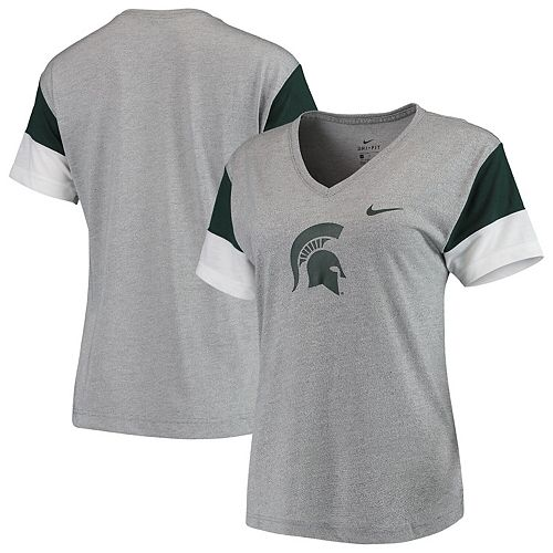Women's Nike Heathered Gray/Green Michigan State Spartans Breathe Team Sleeve Performance V-Neck T-Shirt