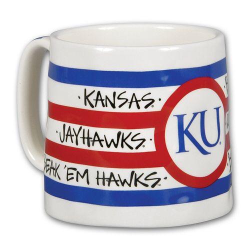 Kansas Jayhawks 16oz Team Logo Striped Artwork Mug