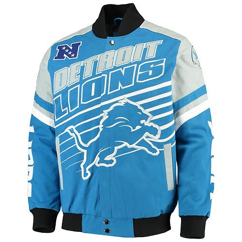 Men's G-III Extreme Blue Detroit Lions Linebacker Twill Jacket