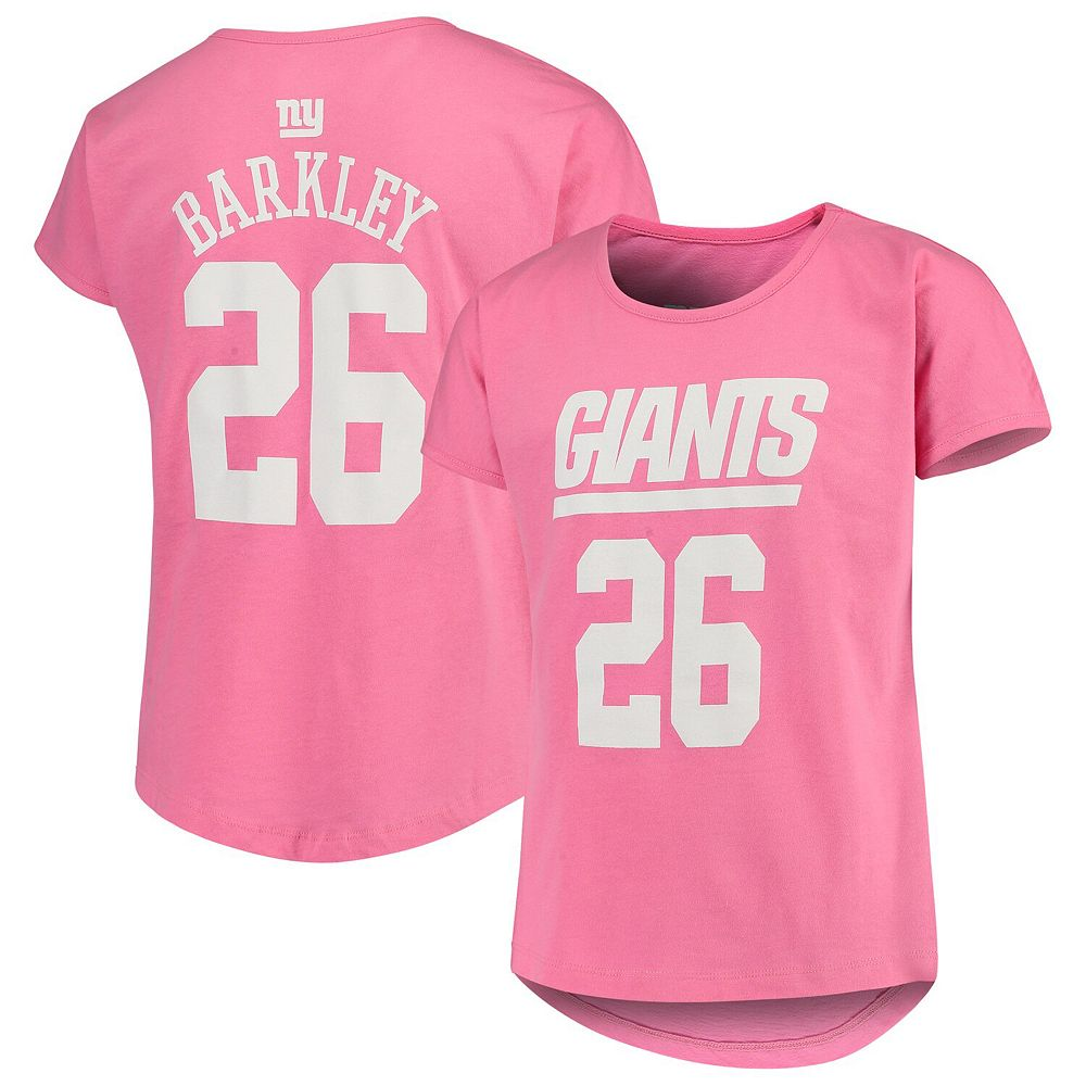Girls Youth Saquon Barkley Pink New York Giants Dolman Mainliner Name & Number T-Shirt