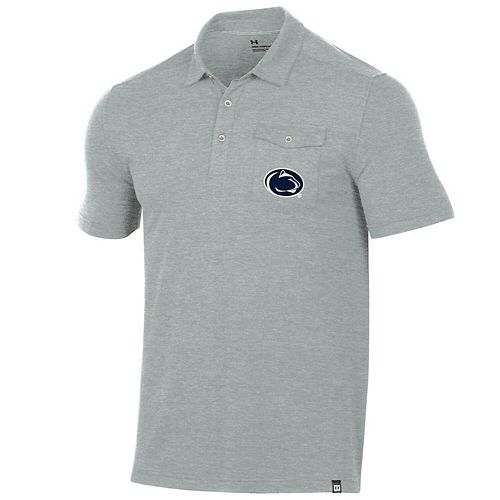 Men's Under Armour Gray Penn State Nittany Lions Pocket Performance Tri-Blend Polo