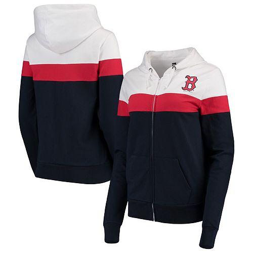 Women's New Era Navy/White Boston Red Sox Colorblock French Terry Full-Zip Hoodie