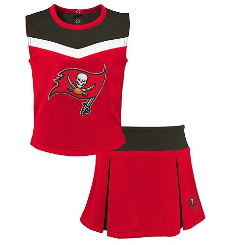 Youth Red/Pewter Tampa Bay Buccaneers Spirit Cheer Two-Piece Cheerleader Set