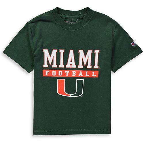 Youth Champion Green Miami Hurricanes Football Drop T-Shirt