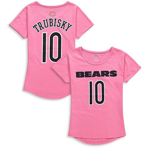 Girls Youth Mitchell Trubisky Pink Chicago Bears Dolman Mainliner Name & Number T-Shirt