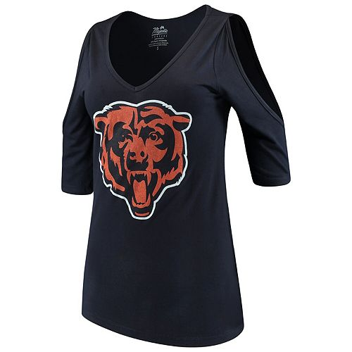 Women's Majestic Threads Navy Chicago Bears Cold Shoulder 3/4-Sleeve V-Neck T-Shirt