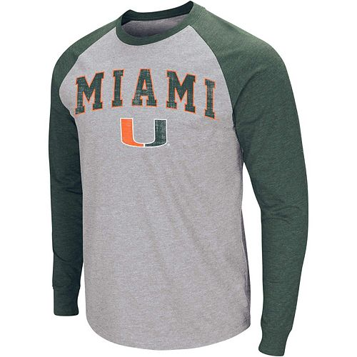 Men's Colosseum Heathered Gray Miami Hurricanes Olympus III Raglan Long Sleeve T-Shirt
