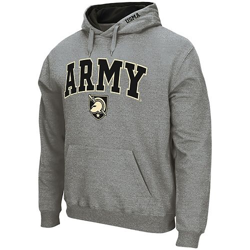 Men's Colosseum Heathered Gray Army Black Knights Arch & Logo Pullover Hoodie
