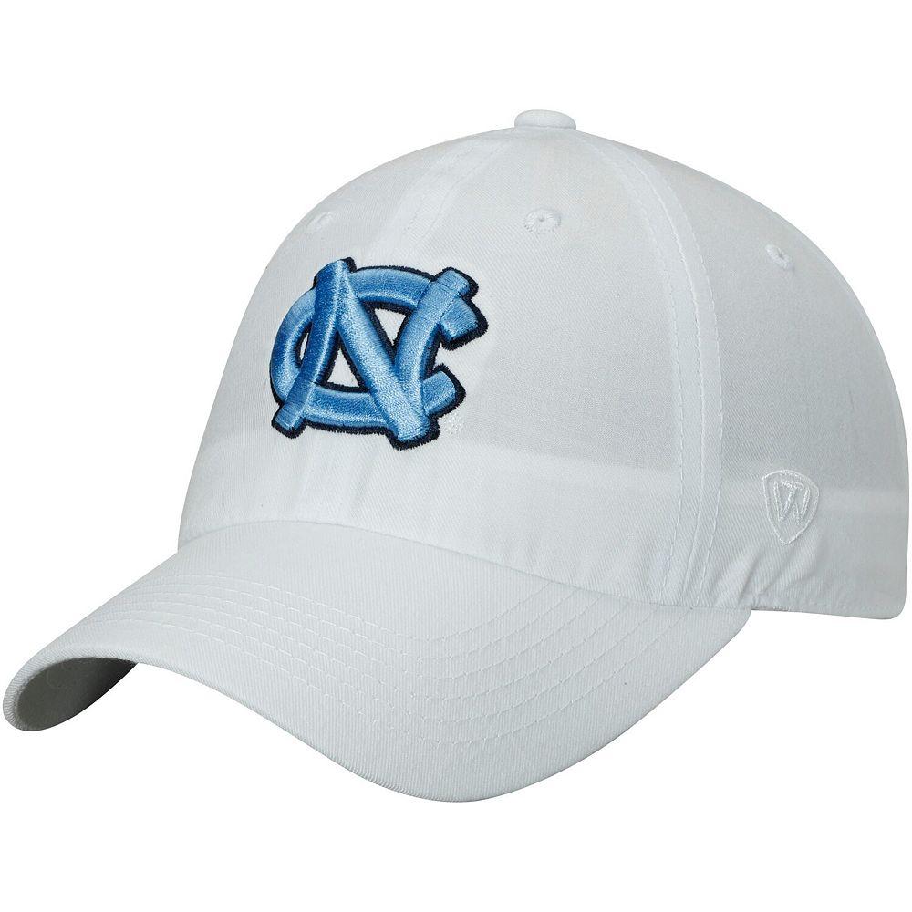 Men's Top of the World White North Carolina Tar Heels Primary Logo Staple Adjustable Hat
