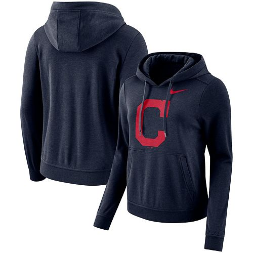 Women's Nike Navy Cleveland Indians Club Tri-Blend Pullover Hoodie