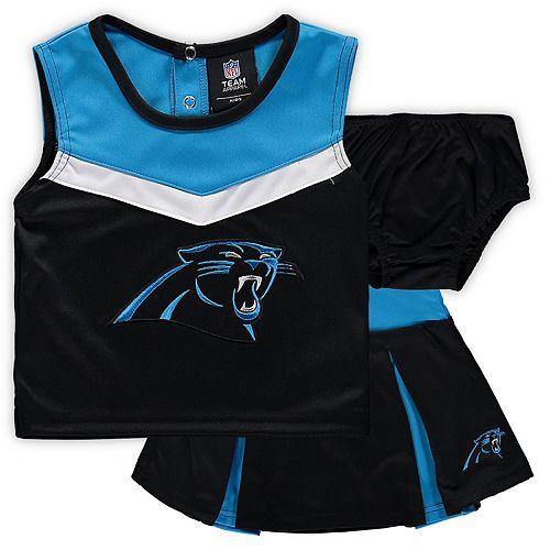 Girls Toddler Black/Blue Carolina Panthers Two-Piece Spirit Cheerleader Set with Bloomers