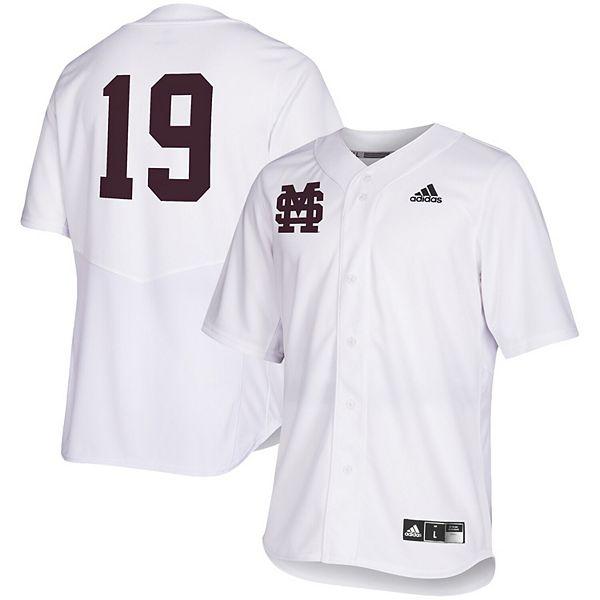Men's adidas White Mississippi State Bulldogs Full Button Baseball Jersey