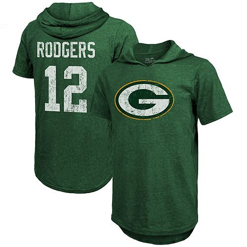 Men's Majestic Threads Aaron Rodgers Green Green Bay Packers Name & Number Tri-Blend Hooded T-Shirt