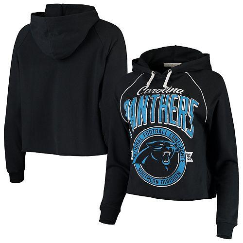 Women's Junk Food Black Carolina Panthers Team Logo Cropped Raglan Pullover Hoodie