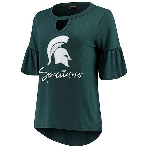 Women's Green Michigan State Spartans Ruffle And Ready Keyhole Tri-Blend 3/4-Sleeve T-Shirt