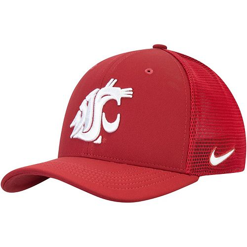 Men's Nike Crimson Washington State Cougars Aerobill Meshback Swoosh Flex Hat
