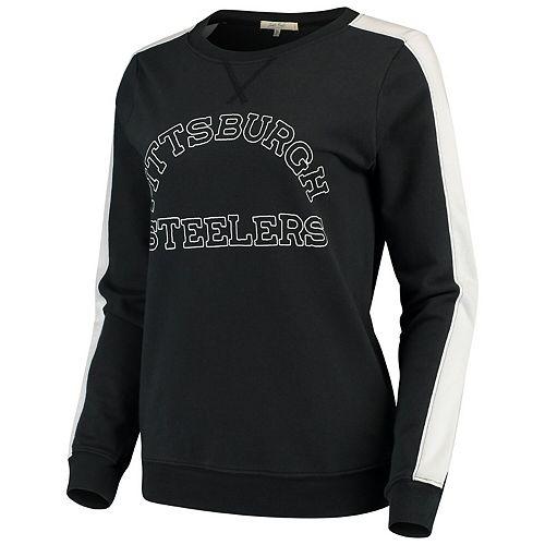 Women's Junk Food Black Pittsburgh Steelers French Terry Contrast Panel Sweatshirt