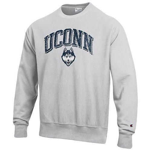 Men's Champion Gray UConn Huskies Arch Over Logo Reverse Weave Pullover Sweatshirt