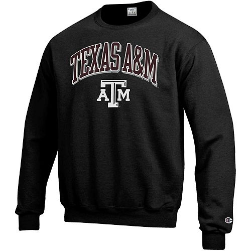 Men's Champion Black Texas A&M Aggies Arch Over Logo Powerblend Pullover Sweatshirt