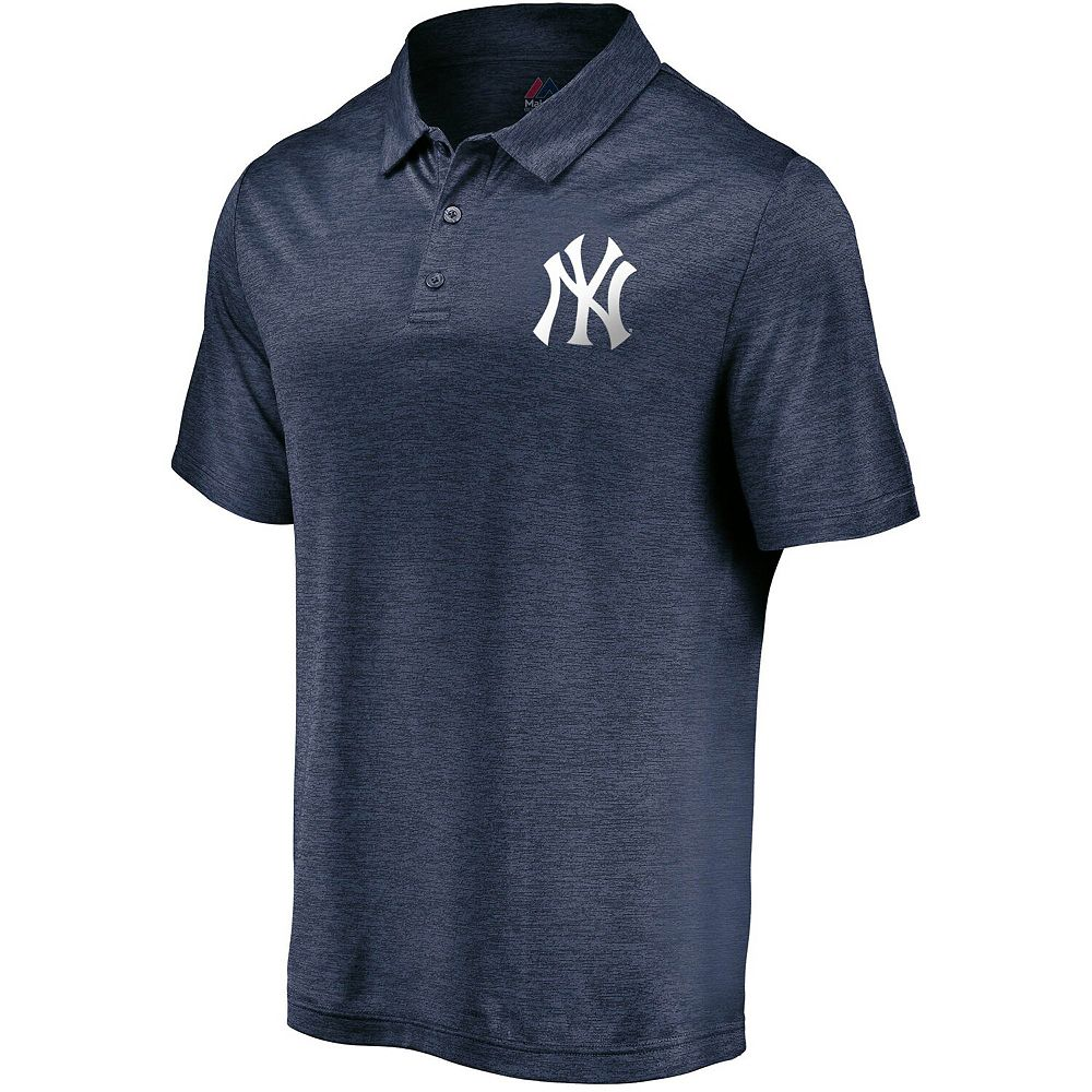 Men's Majestic Heathered Navy New York Yankees Positive Production Polo