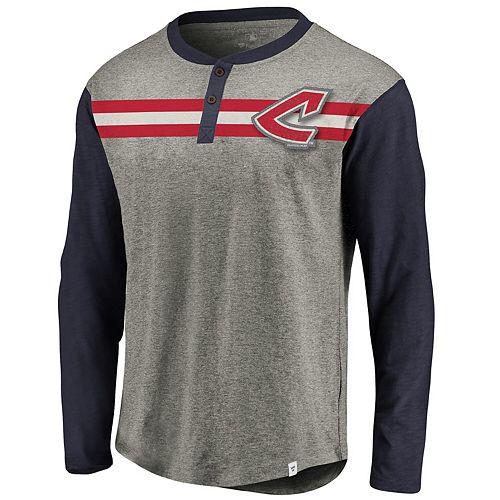 Men's Fanatics Branded Gray/Navy Cleveland Indians Big & Tall True Classics Stripe Henley Long Sleeve T-Shirt