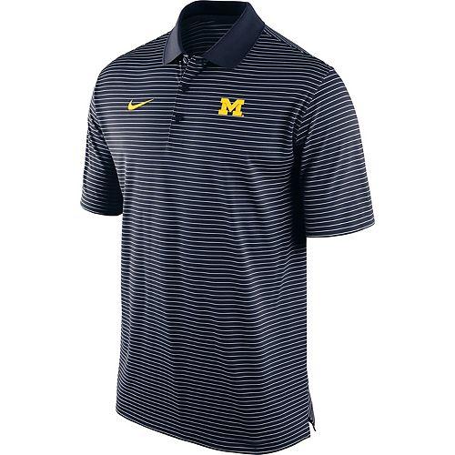 Men's Nike Navy Michigan Wolverines Stadium Striped Performance Polo