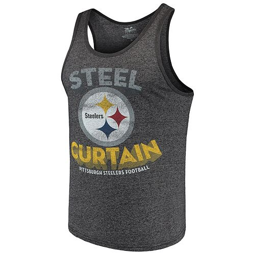 Men's Majestic Threads Black Pittsburgh Steelers Slogan Tri-Blend Tank Top