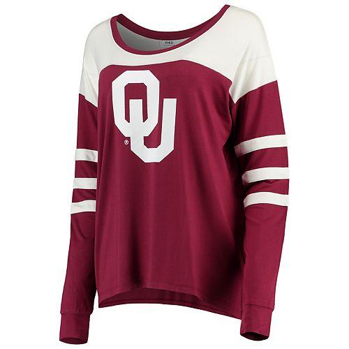 Women's Crimson/White Oklahoma Sooners Piko Kalynn Sleeve Stripe Long Sleeve T-Shirt