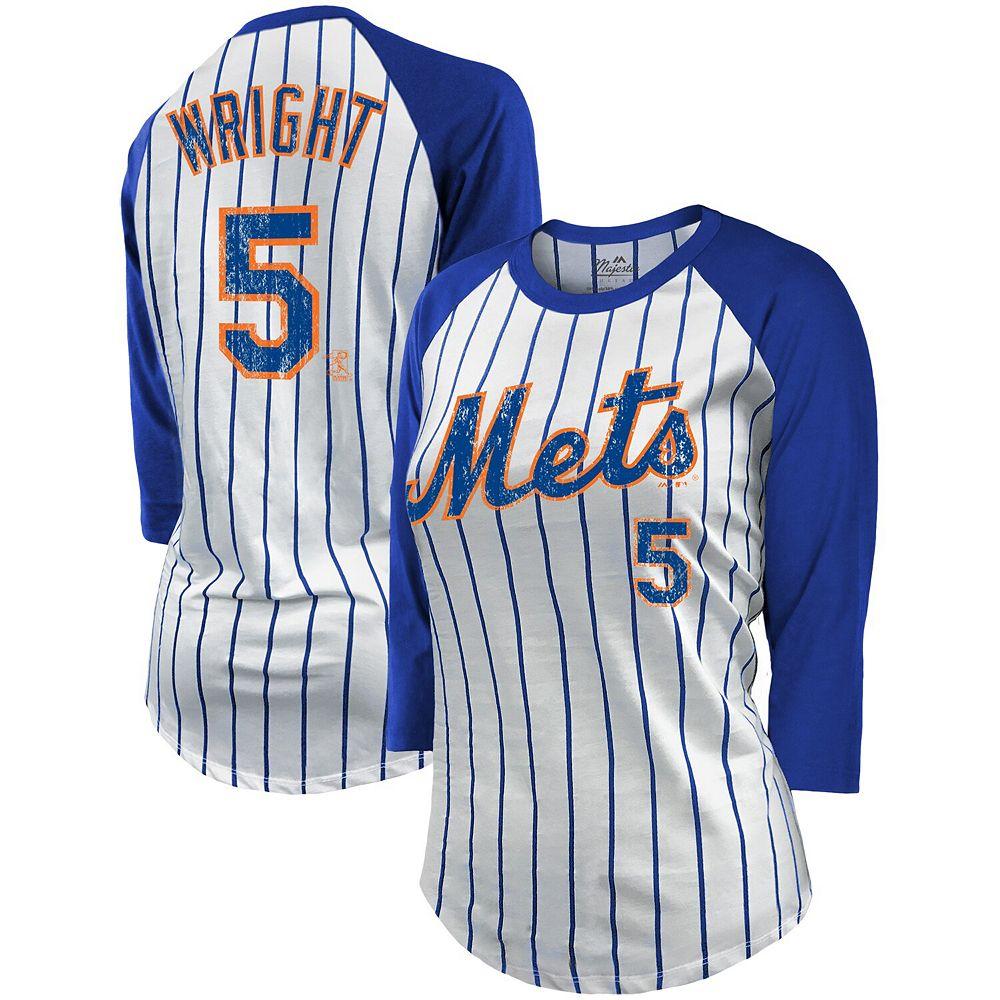 Women's Majestic Threads David Wright White/Royal New York Mets Pinstripe Player Name & Number Raglan 3/4-Sleeve T-Shirt