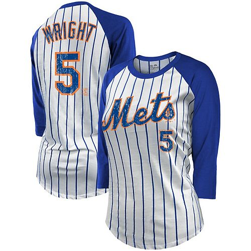 Women's Majestic Threads David Wright White/Royal New York Mets Pinstripe Player Name & Number Raglan 3/4-Sleeve T-Shirt