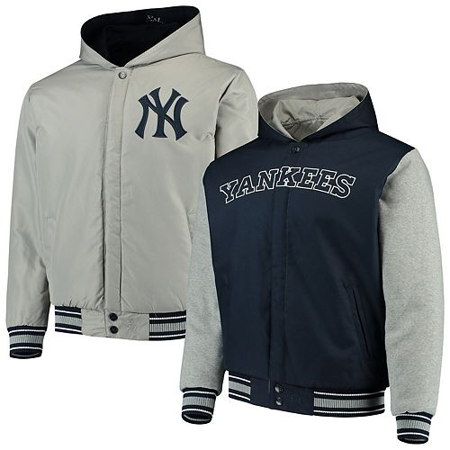 Men's JH Design NavyGray New York Yankees Reversible Full Snap Twill Jacket