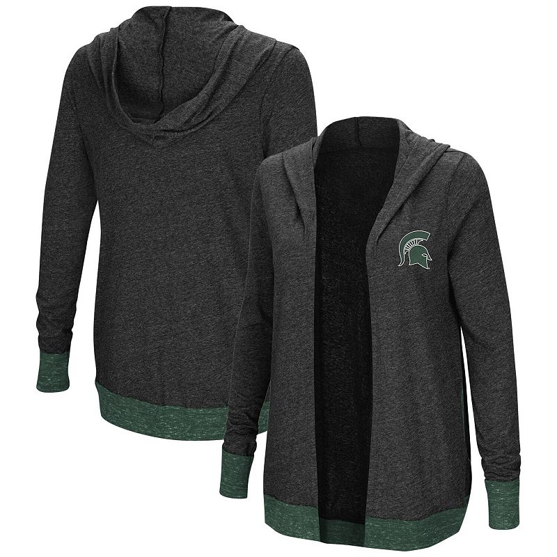 Women's Colosseum Charcoal Michigan State Spartans Plus Size Steeplechase Open Hooded Tri-Blend Cardigan. Size: PLUS 1XL. Grey
