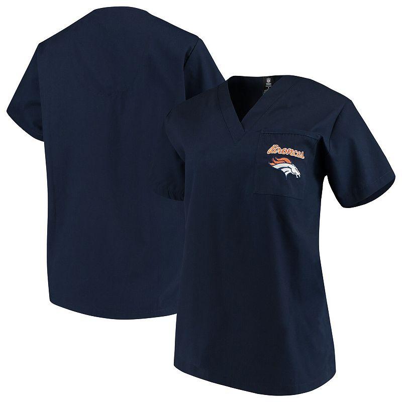 Concepts Sport Navy Denver Broncos Team Scrub Top, Women's, Size: Medium, Blue