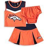 Girls Toddler Orange/Navy Denver Broncos Two-Piece Spirit Cheerleader Set with Bloomers