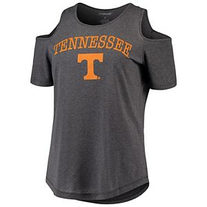 Women's Charcoal Tennessee Volunteers Sueded Jersey Cold Shoulder T-Shirt
