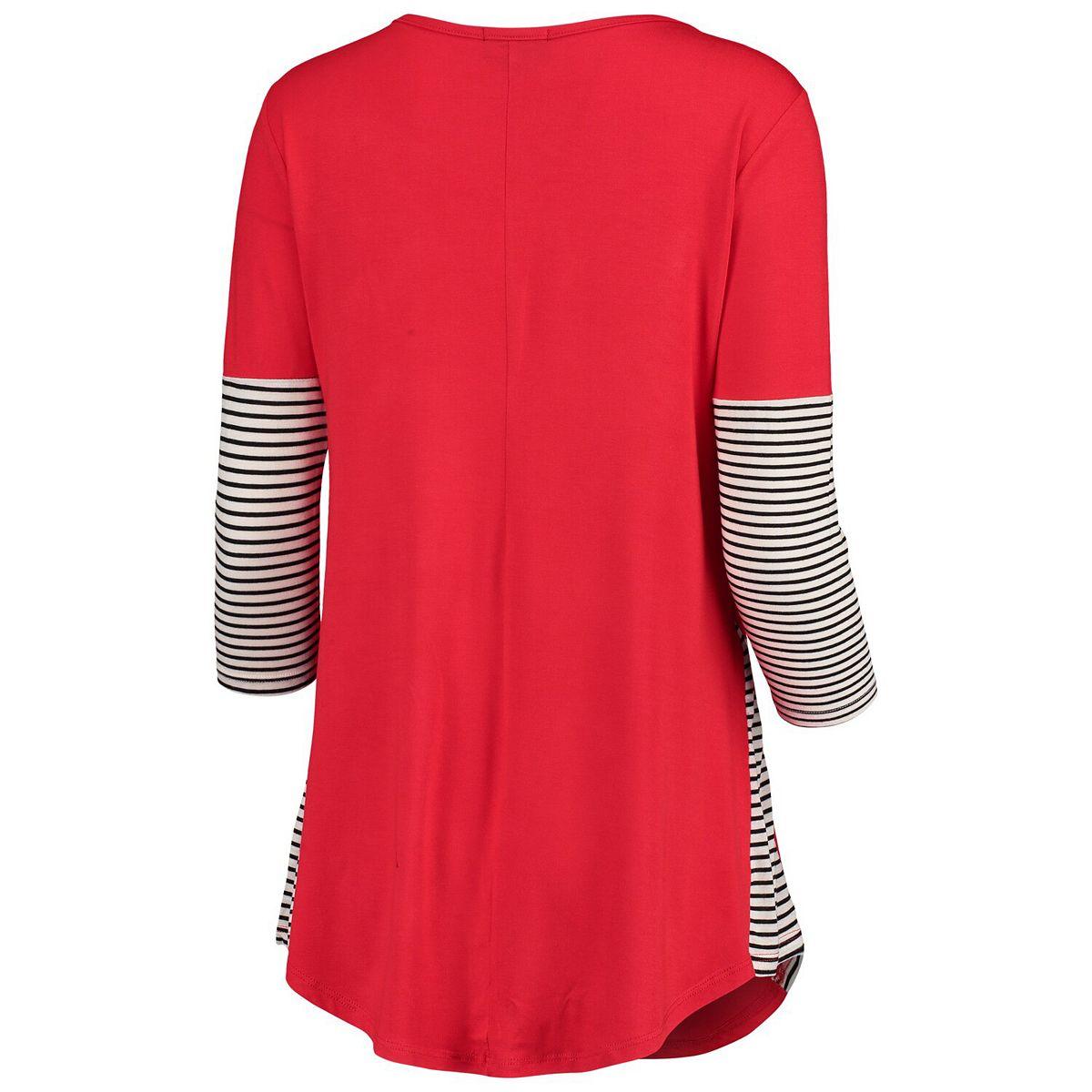 Women's Red Wisconsin Badgers Striking in Stripes Tunic Shirt 5cXVI
