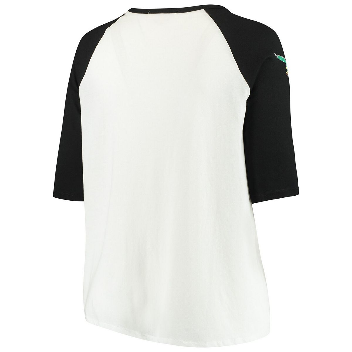 Women's Junk Food White/Black Philadelphia Eagles Plus Size Raglan 3/4-Sleeve T-Shirt j3nZt