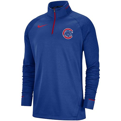 timeless design c8c24 52f70 Men's Nike Royal Chicago Cubs Elite Game Performance Raglan Sleeve  Quarter-Zip Pullover Jacket