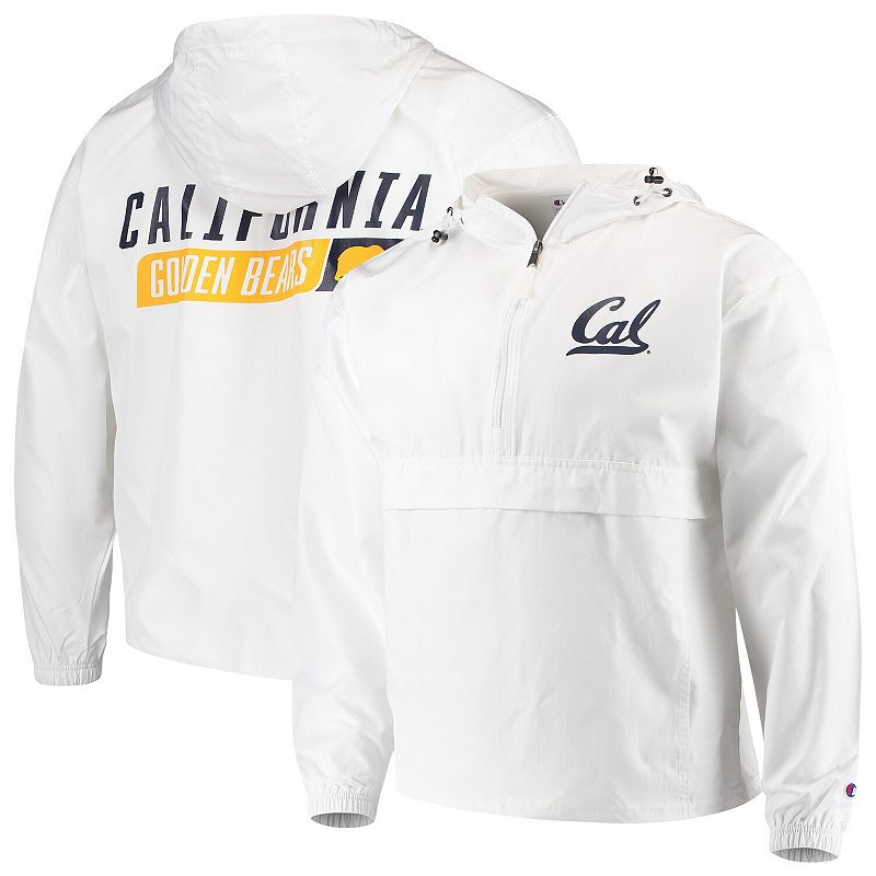 Men's Champion White Cal Bears Tailgate Packable Half-Zip Jacket, Size: Large