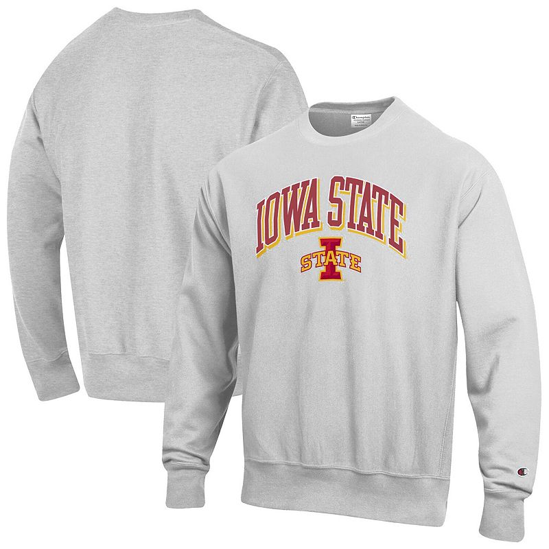 Men's Champion Gray Iowa State Cyclones Arch Over Logo Reverse Weave Pullover Sweatshirt. Size: Small. Grey