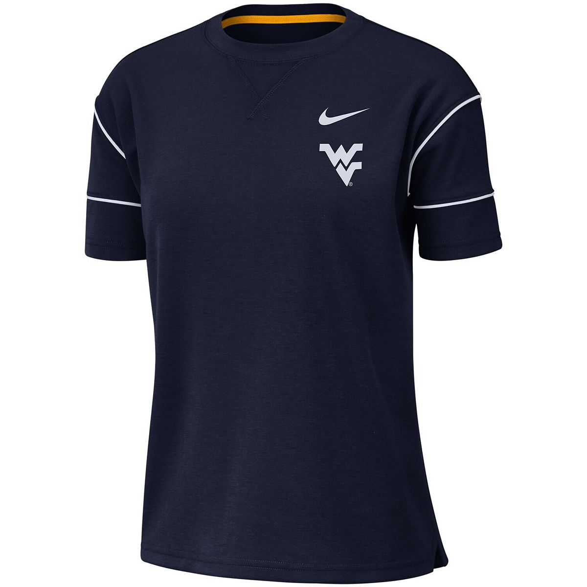 Women's Nike Navy West Virginia Mountaineers Double Knit Fashion Performance T-Shirt xmbnt