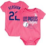 Newborn & Infant Majestic Clayton Kershaw Pink Los Angeles Dodgers Baby Slugger Name & Number Bodysuit