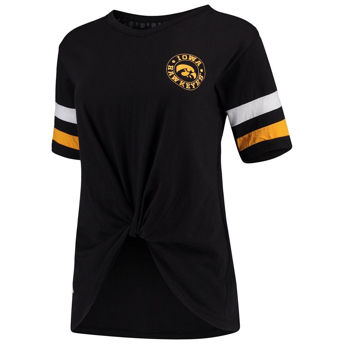 Women's Pressbox Black Iowa Hawkeyes Knotted Hem V-Neck T-Shirt WL2qk
