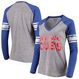 Women's G-III 4Her by Carl Banks Gray/Royal Chicago Cubs Franchise Tri-Blend Raglan Long Sleeve T-Shirt