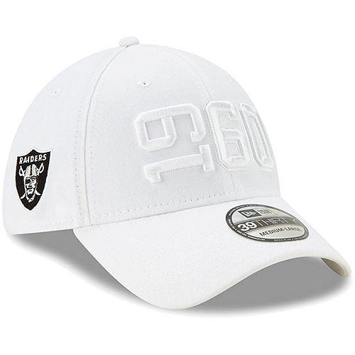 designer fashion 97449 e364c Men's New Era White Oakland Raiders 2019 NFL Sideline Color Rush 39THIRTY  Flex Hat