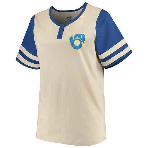 Women's Majestic Cream/Royal Milwaukee Brewers Plus Size Cooperstown Collection Henley T-Shirt