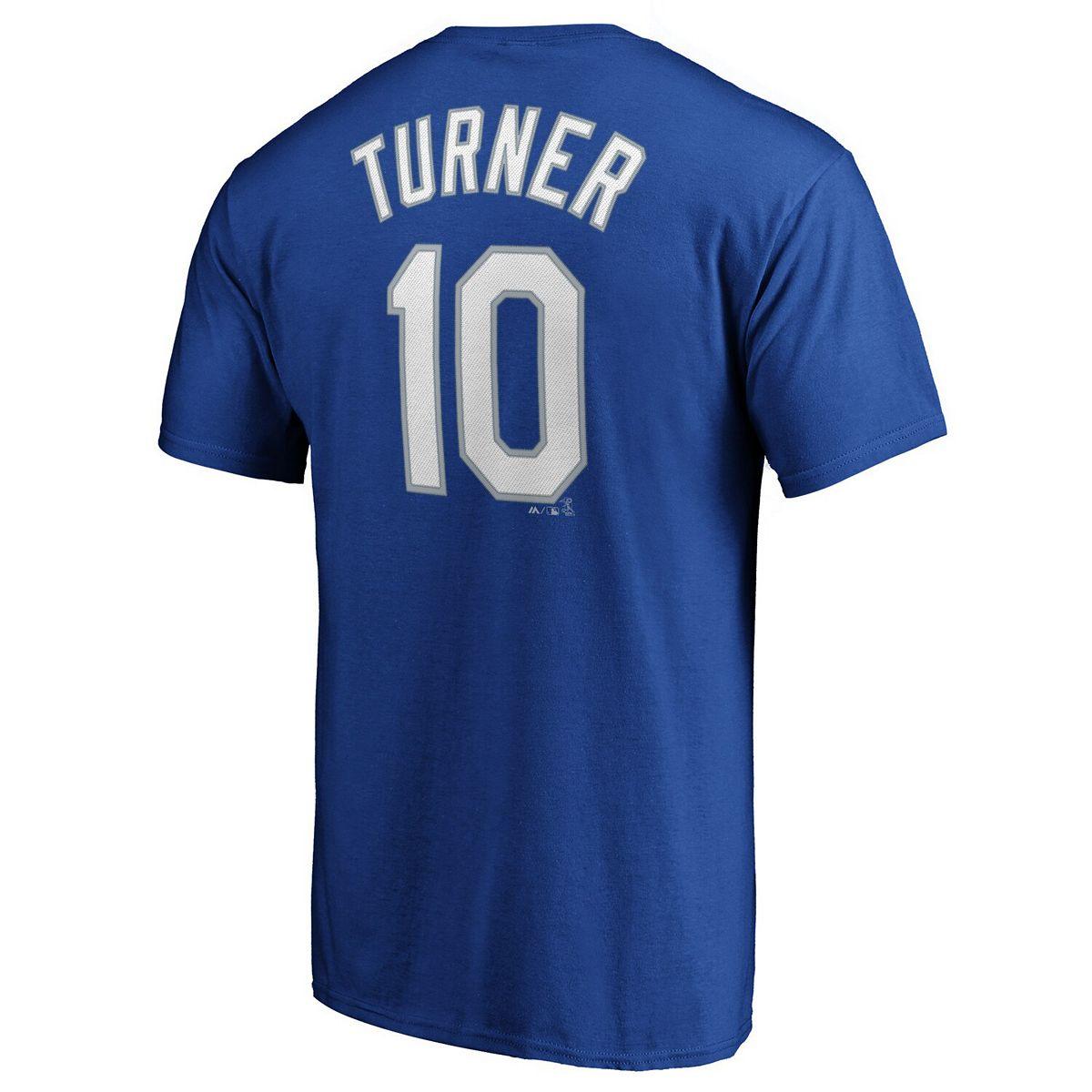 Justin Turner Los Angeles Dodgers Majestic Team Official Name & Number T-Shirt - Royal Yv856