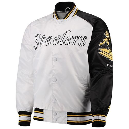 sale retailer fda04 49dfe Men's Starter White Pittsburgh Steelers Start of Season Retro Satin  Full-Button Varsity Jacket